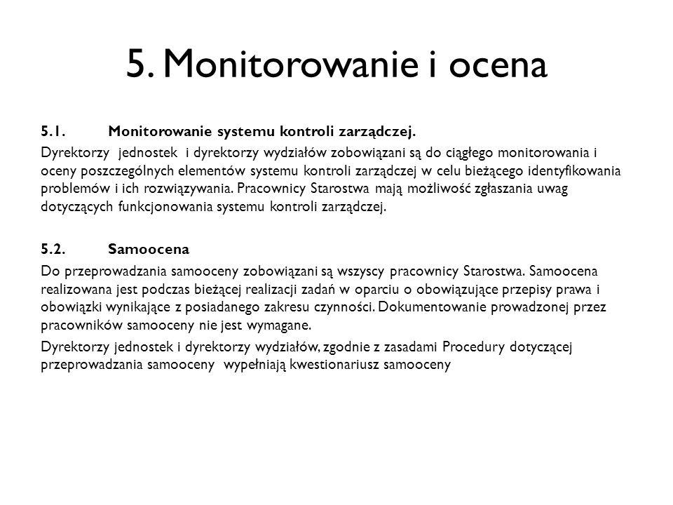 5. Monitorowanie i ocena 5.1.Monitorowanie systemu kontroli zarządczej. Dyrektorzy jednostek i dyrektorzy wydziałów zobowiązani są do ciągłego monitor
