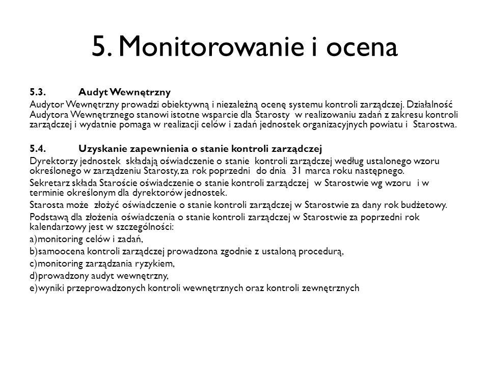 5. Monitorowanie i ocena 5.3.Audyt Wewnętrzny Audytor Wewnętrzny prowadzi obiektywną i niezależną ocenę systemu kontroli zarządczej. Działalność Audyt