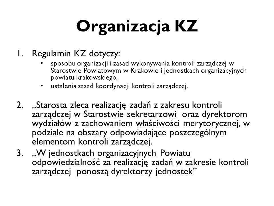Organizacja KZ 1.Regulamin KZ dotyczy: sposobu organizacji i zasad wykonywania kontroli zarządczej w Starostwie Powiatowym w Krakowie i jednostkach or