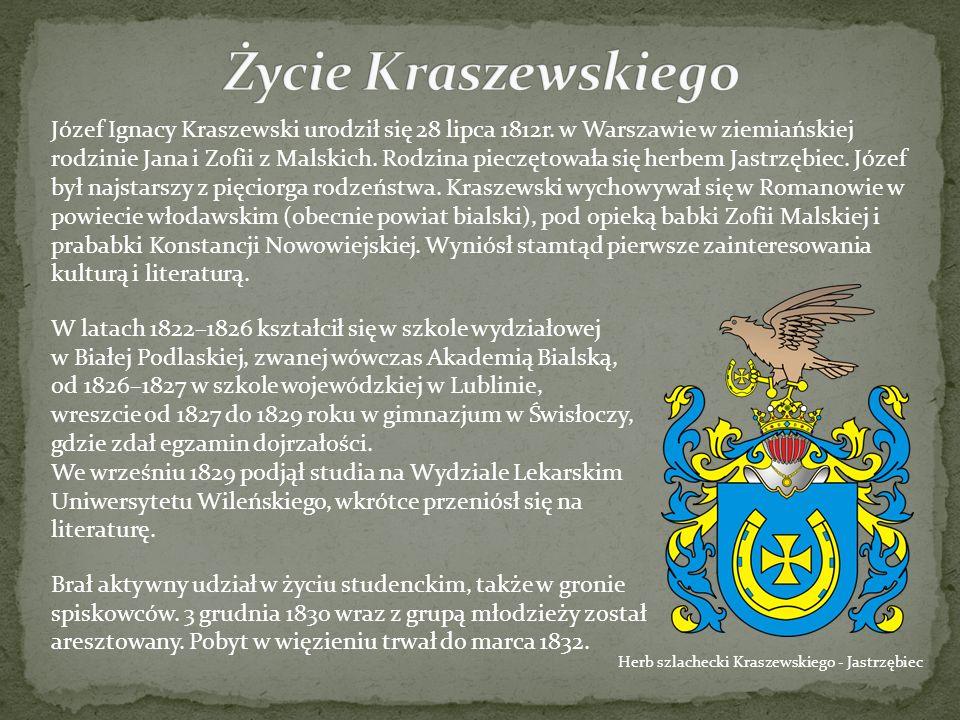 Herb szlachecki Kraszewskiego - Jastrzębiec Józef Ignacy Kraszewski urodził się 28 lipca 1812r. w Warszawie w ziemiańskiej rodzinie Jana i Zofii z Mal