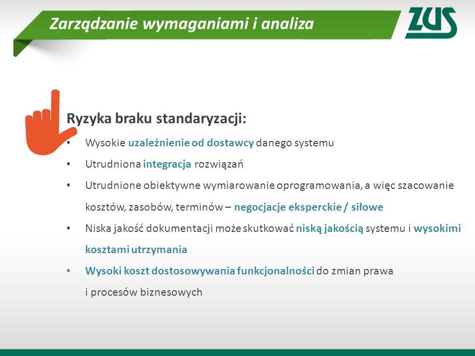 Ryzyka braku standaryzacji: Wysokie uzależnienie od dostawcy danego systemu Utrudniona integracja rozwiązań Utrudnione obiektywne wymiarowanie oprogra