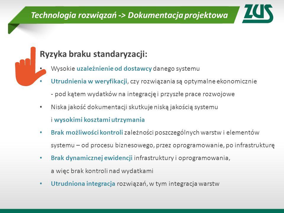 Ryzyka braku standaryzacji: Wysokie uzależnienie od dostawcy danego systemu Utrudnienia w weryfikacji, czy rozwiązania są optymalne ekonomicznie - pod