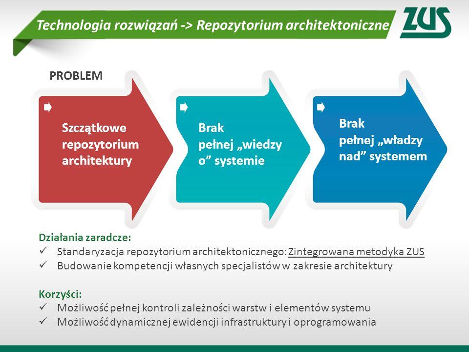 Szczątkowe repozytorium architektury Brak pełnej wiedzy o systemie Brak pełnej władzy nad systemem PROBLEM Działania zaradcze: Standaryzacja repozytor