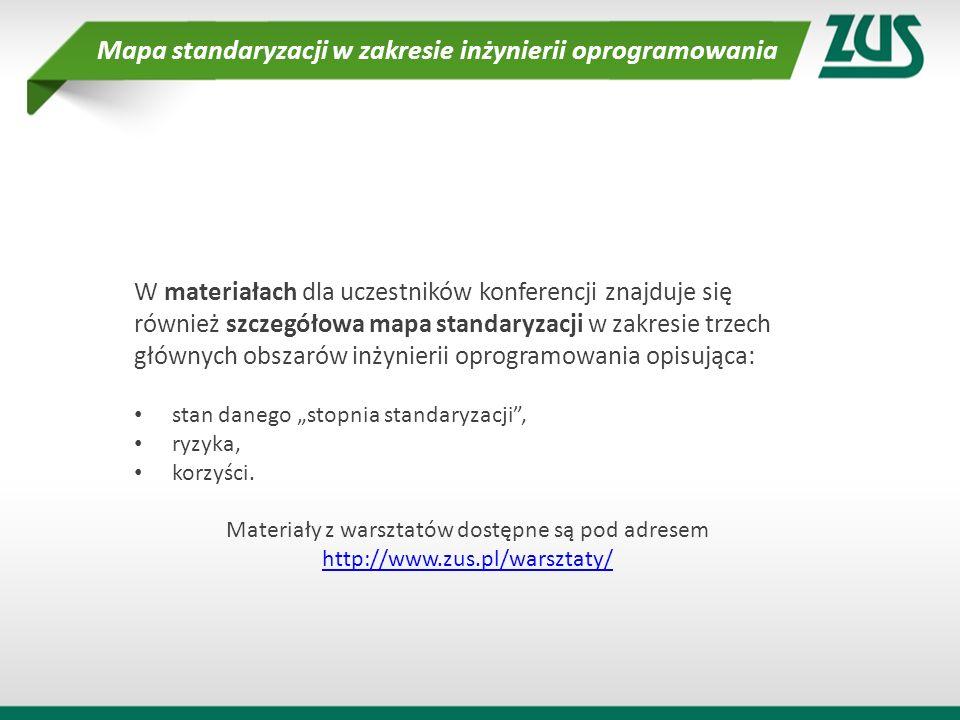 W materiałach dla uczestników konferencji znajduje się również szczegółowa mapa standaryzacji w zakresie trzech głównych obszarów inżynierii oprogramo