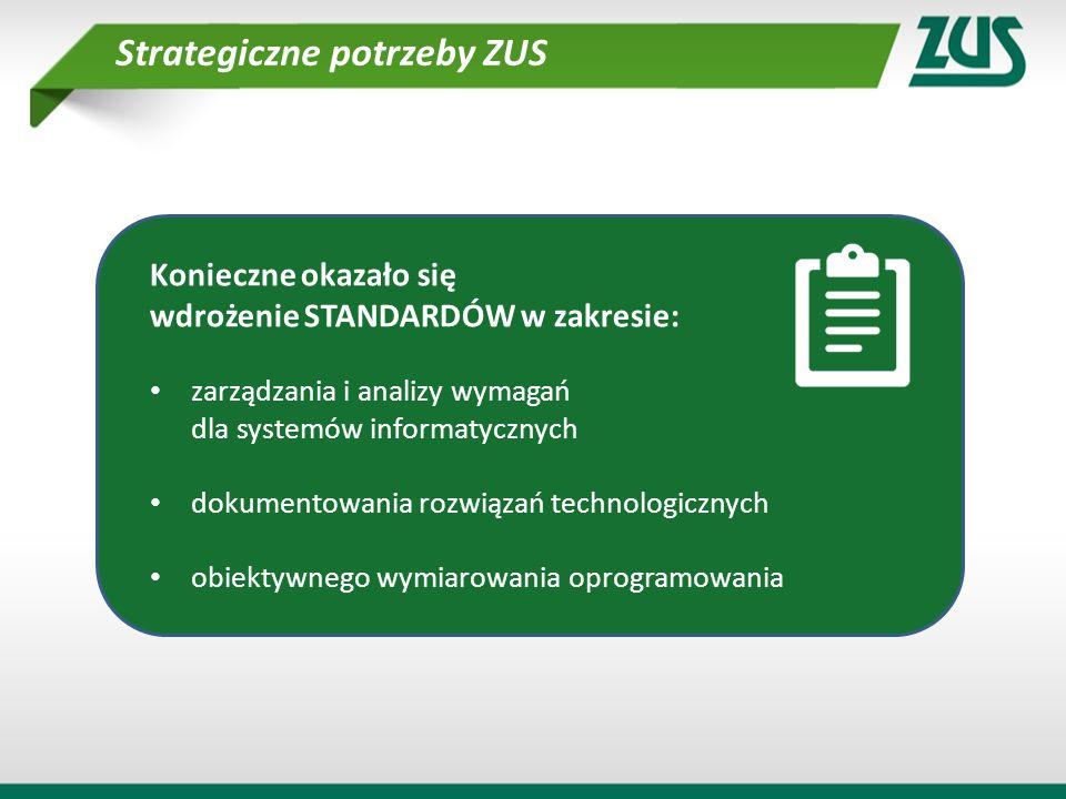 Konieczne okazało się wdrożenie STANDARDÓW w zakresie: zarządzania i analizy wymagań dla systemów informatycznych dokumentowania rozwiązań technologic