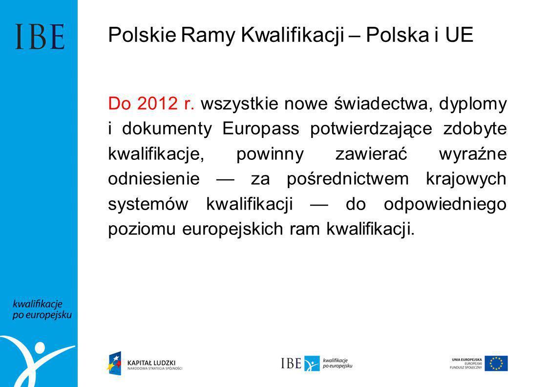 Polskie Ramy Kwalifikacji – Polska i UE Do 2012 r. wszystkie nowe świadectwa, dyplomy i dokumenty Europass potwierdzające zdobyte kwalifikacje, powinn