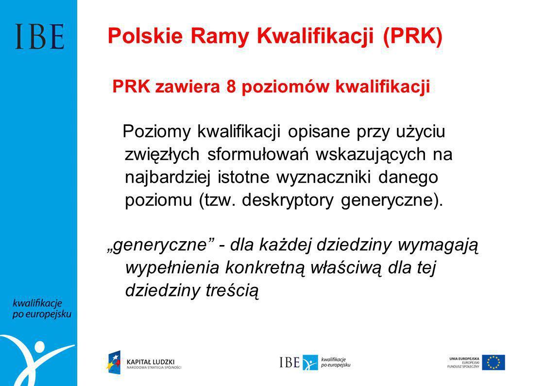 Polskie Ramy Kwalifikacji (PRK) PRK zawiera 8 poziomów kwalifikacji Poziomy kwalifikacji opisane przy użyciu zwięzłych sformułowań wskazujących na naj