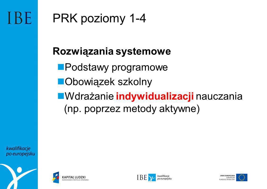 PRK poziomy 1-4 Rozwiązania systemowe Podstawy programowe Obowiązek szkolny Wdrażanie indywidualizacji nauczania (np. poprzez metody aktywne)