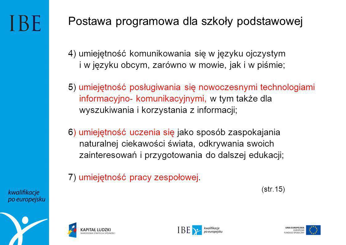 Postawa programowa dla szkoły podstawowej 4) umiejętność komunikowania się w języku ojczystym i w języku obcym, zarówno w mowie, jak i w piśmie; 5) um