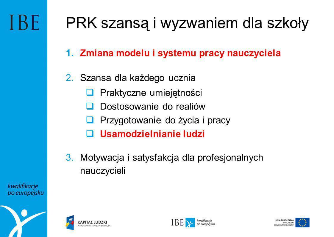 PRK szansą i wyzwaniem dla szkoły 1.Zmiana modelu i systemu pracy nauczyciela 2.Szansa dla każdego ucznia Praktyczne umiejętności Dostosowanie do real