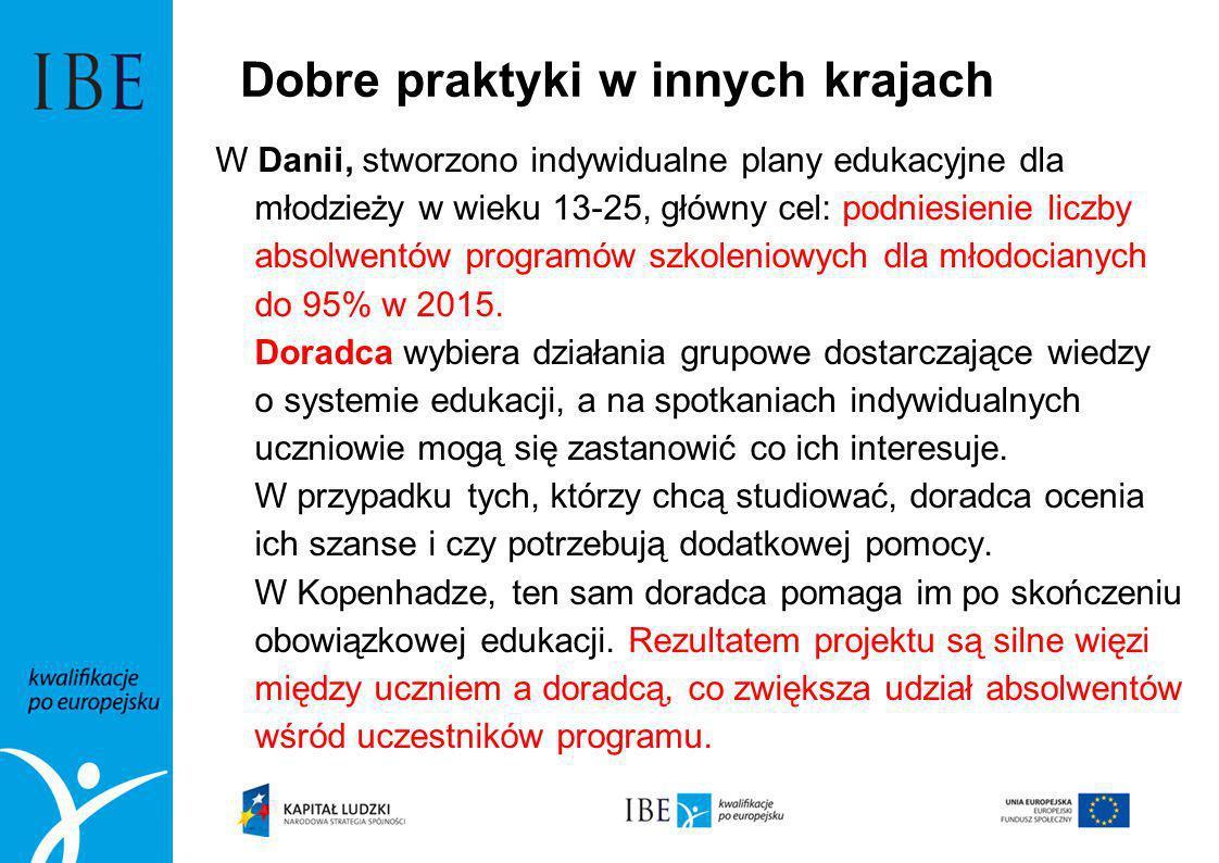 Dobre praktyki w innych krajach W Danii, stworzono indywidualne plany edukacyjne dla młodzieży w wieku 13-25, główny cel: podniesienie liczby absolwen