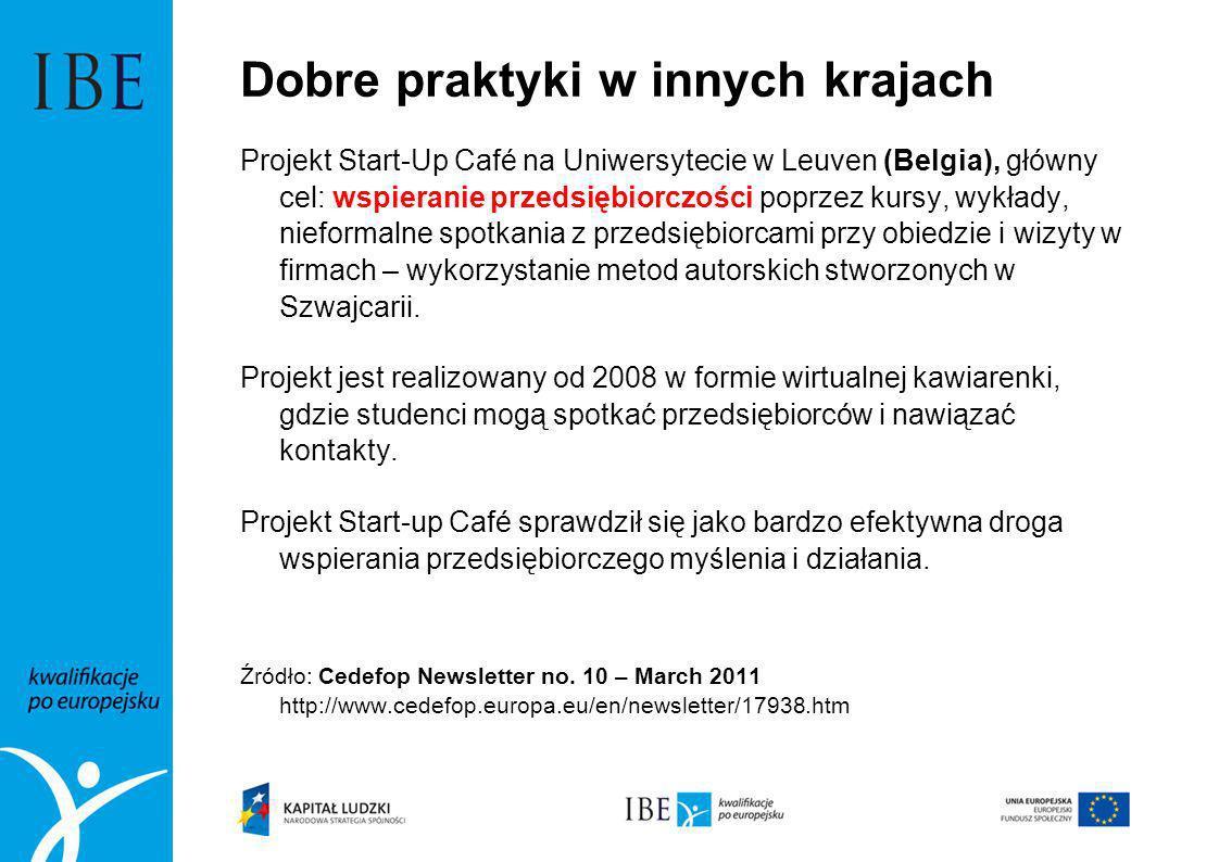 Dobre praktyki w innych krajach Projekt Start-Up Café na Uniwersytecie w Leuven (Belgia), główny cel: wspieranie przedsiębiorczości poprzez kursy, wyk