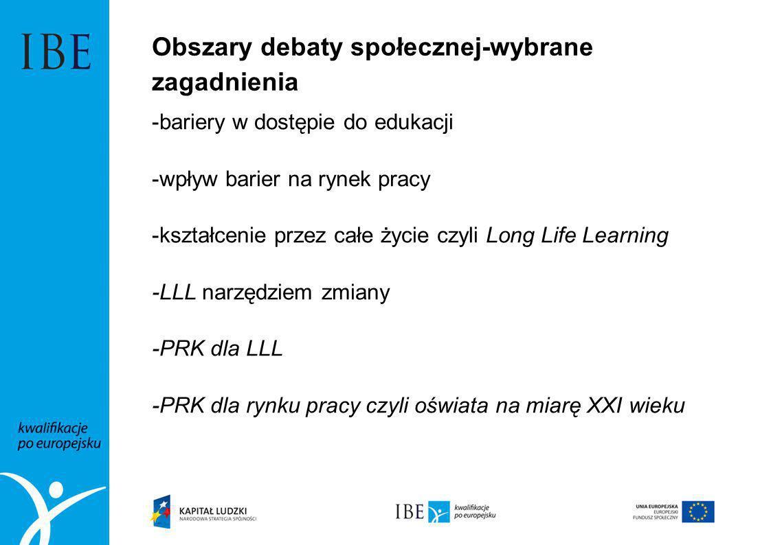 Obszary debaty społecznej-wybrane zagadnienia -bariery w dostępie do edukacji -wpływ barier na rynek pracy -kształcenie przez całe życie czyli Long Li