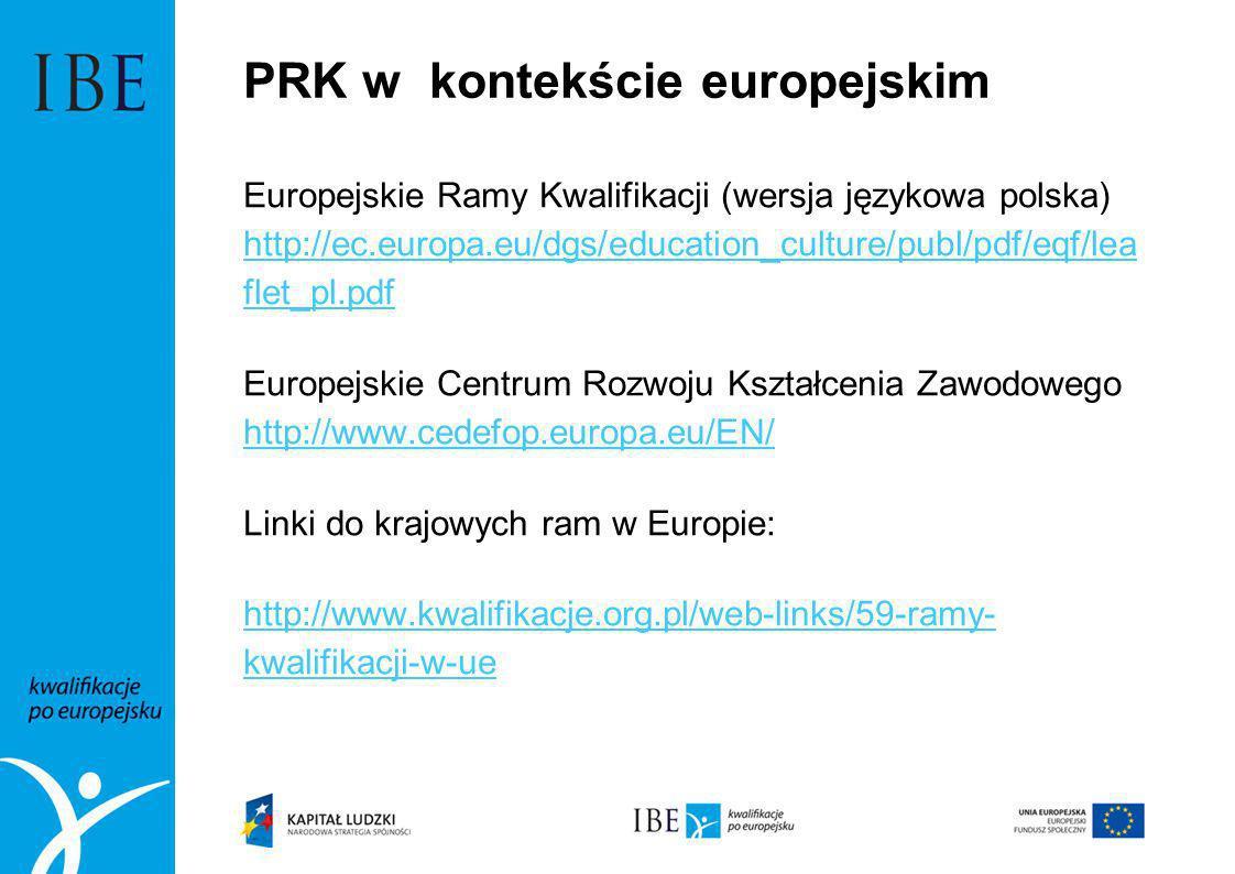 PRK w kontekście europejskim Europejskie Ramy Kwalifikacji (wersja językowa polska) http://ec.europa.eu/dgs/education_culture/publ/pdf/eqf/lea flet_pl