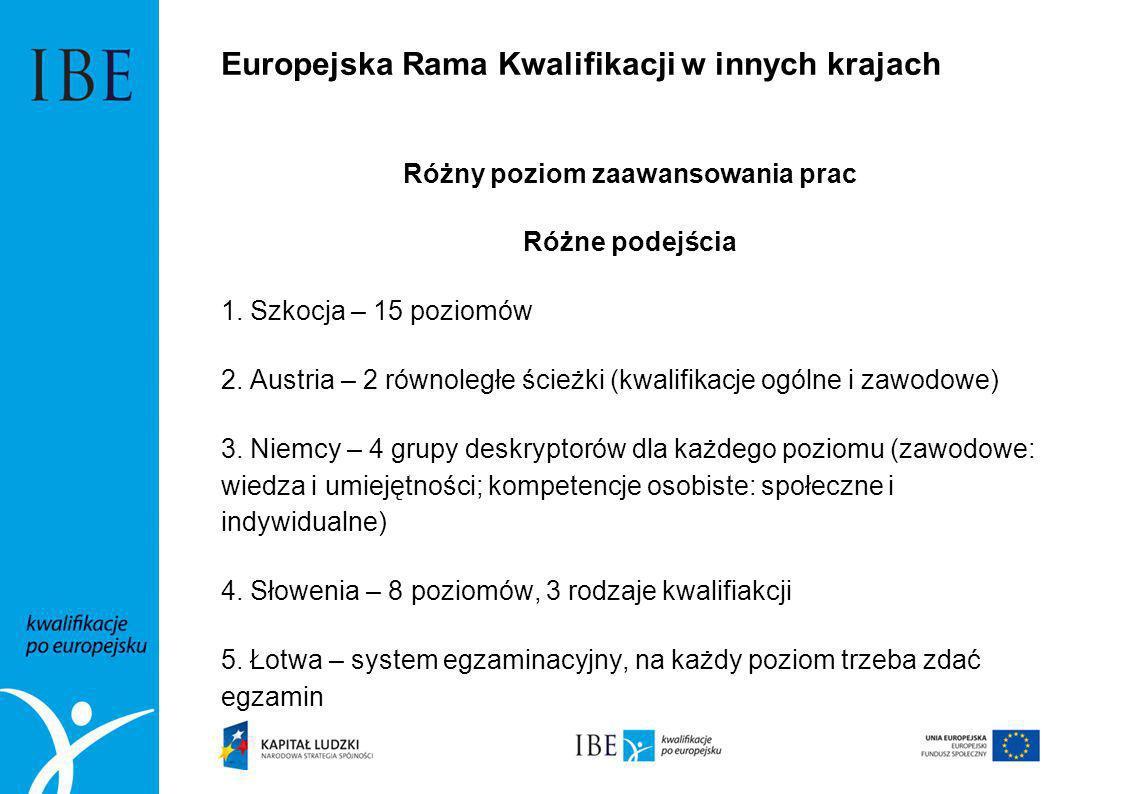 Europejska Rama Kwalifikacji w innych krajach Różny poziom zaawansowania prac Różne podejścia 1. Szkocja – 15 poziomów 2. Austria – 2 równoległe ścież