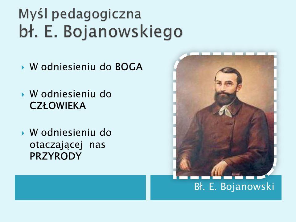 Bł. E. Bojanowski W odniesieniu do BOGA W odniesieniu do CZŁOWIEKA W odniesieniu do otaczającej nas PRZYRODY