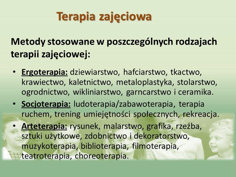 Metody stosowane w poszczególnych rodzajach terapii zajęciowej: Ergoterapia: dziewiarstwo, hafciarstwo, tkactwo, krawiectwo, kaletnictwo, metaloplasty