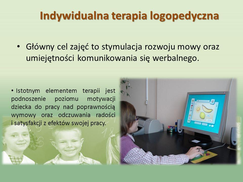 Indywidualna terapia logopedyczna Główny cel zajęć to stymulacja rozwoju mowy oraz umiejętności komunikowania się werbalnego. Istotnym elementem terap