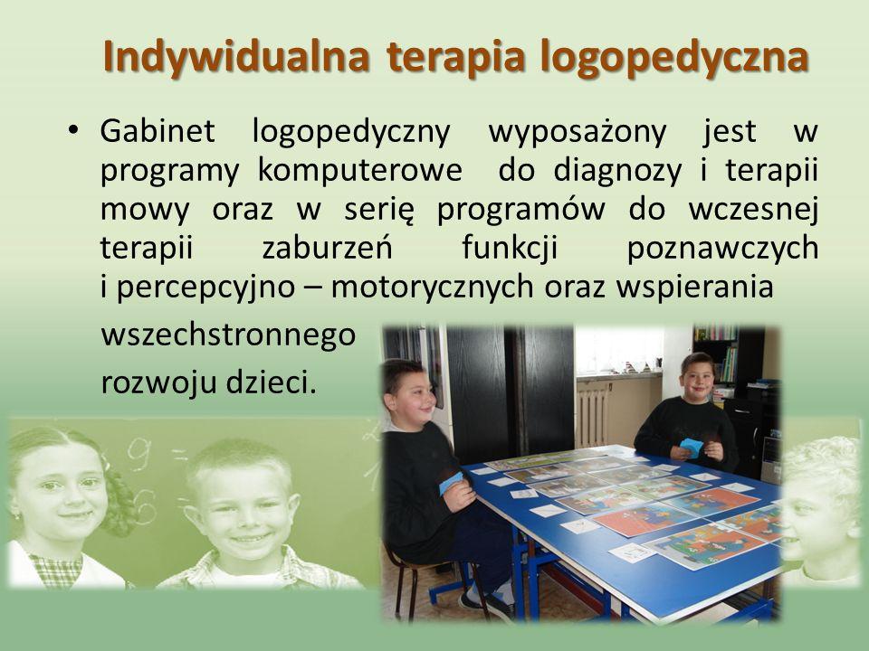 Indywidualna terapia logopedyczna Gabinet logopedyczny wyposażony jest w programy komputerowe do diagnozy i terapii mowy oraz w serię programów do wcz