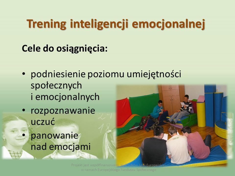 Cele do osiągnięcia: podniesienie poziomu umiejętności społecznych i emocjonalnych rozpoznawanie uczuć panowanie nad emocjami Projekt jest współfinans