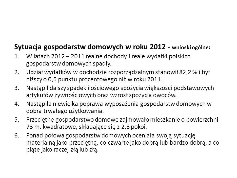 Sytuacja gospodarstw domowych w roku 2012 - wnioski ogólne: 1.W latach 2012 – 2011 realne dochody i reale wydatki polskich gospodarstw domowych spadły