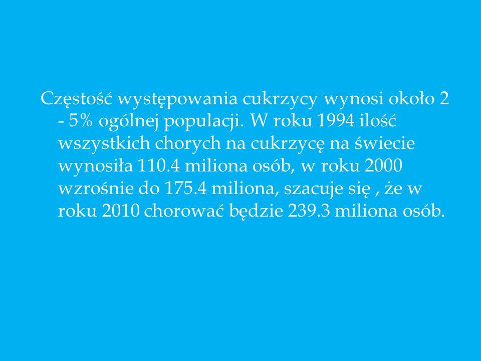 Częstość występowania cukrzycy wynosi około 2 - 5% ogólnej populacji. W roku 1994 ilość wszystkich chorych na cukrzycę na świecie wynosiła 110.4 milio
