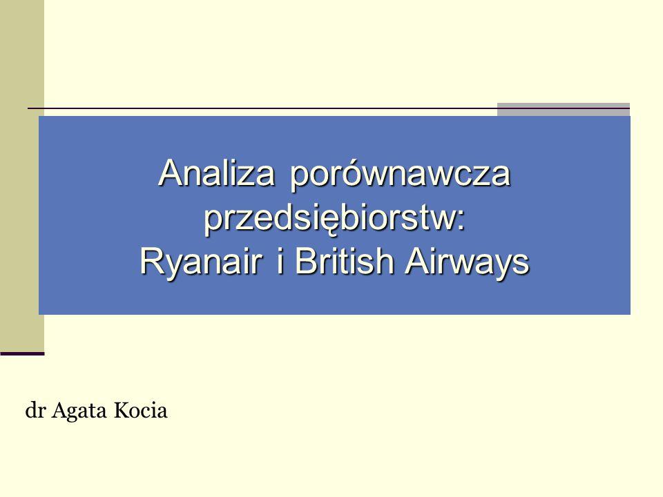 Analiza porównawcza przedsiębiorstw: Ryanair i British Airways dr Agata Kocia