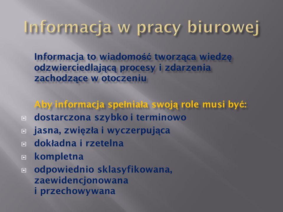 Informacja to wiadomo ść tworz ą ca wiedz ę odzwierciedlaj ą c ą procesy i zdarzenia zachodz ą ce w otoczeniu Aby informacja spe ł nia ł a swoj ą role