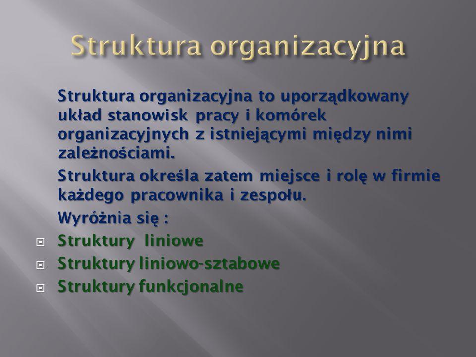 Struktura organizacyjna to uporz ą dkowany uk ł ad stanowisk pracy i komórek organizacyjnych z istniej ą cymi mi ę dzy nimi zale ż no ś ciami. Struktu
