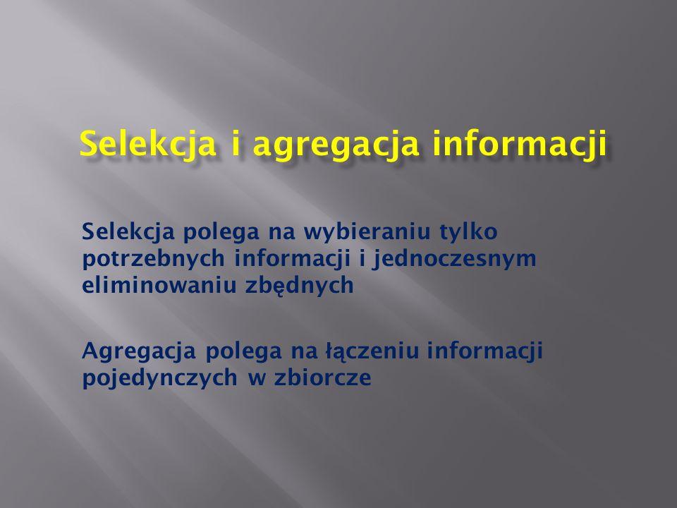 Selekcja i agregacja informacji Selekcja polega na wybieraniu tylko potrzebnych informacji i jednoczesnym eliminowaniu zb ę dnych Agregacja polega na