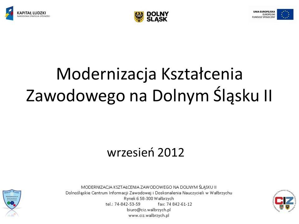 Modernizacja Kształcenia Zawodowego na Dolnym Śląsku II wrzesień 2012