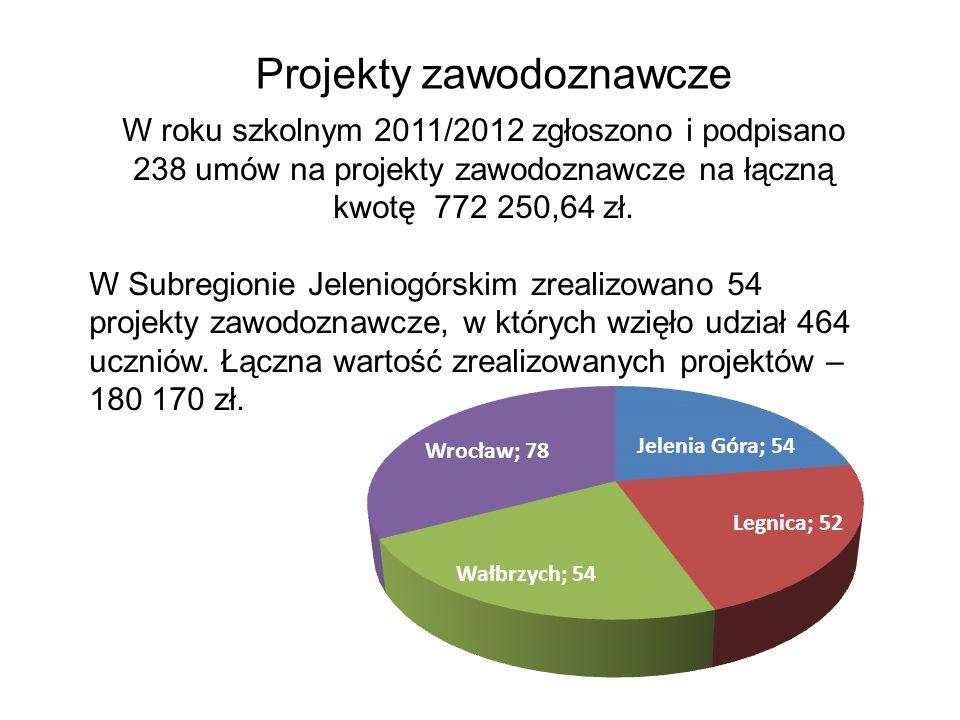 Projekty zawodoznawcze W roku szkolnym 2011/2012 zgłoszono i podpisano 238 umów na projekty zawodoznawcze na łączną kwotę 772 250,64 zł.