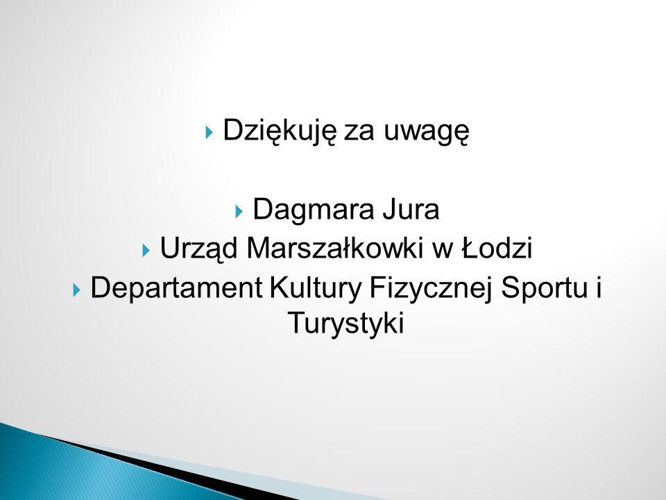 Dziękuję za uwagę Dagmara Jura Urząd Marszałkowki w Łodzi Departament Kultury Fizycznej Sportu i Turystyki