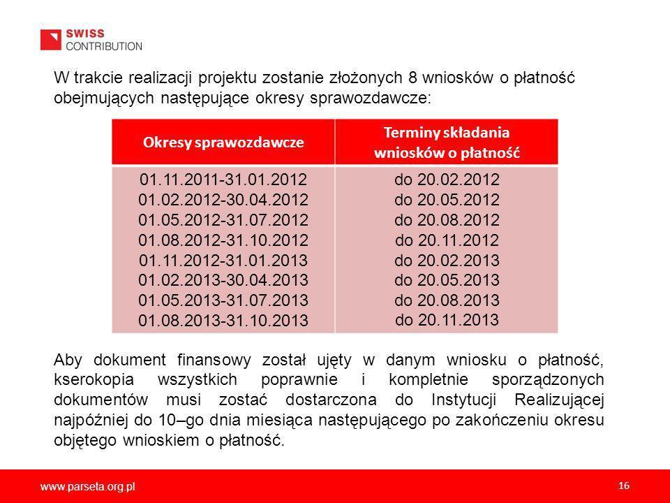 www.parseta.org.pl 16.W trakcie realizacji projektu zostanie złożonych 8 wniosków o płatność obejmujących następujące okresy sprawozdawcze: Aby dokument finansowy został ujęty w danym wniosku o płatność, kserokopia wszystkich poprawnie i kompletnie sporządzonych dokumentów musi zostać dostarczona do Instytucji Realizującej najpóźniej do 10–go dnia miesiąca następującego po zakończeniu okresu objętego wnioskiem o płatność.