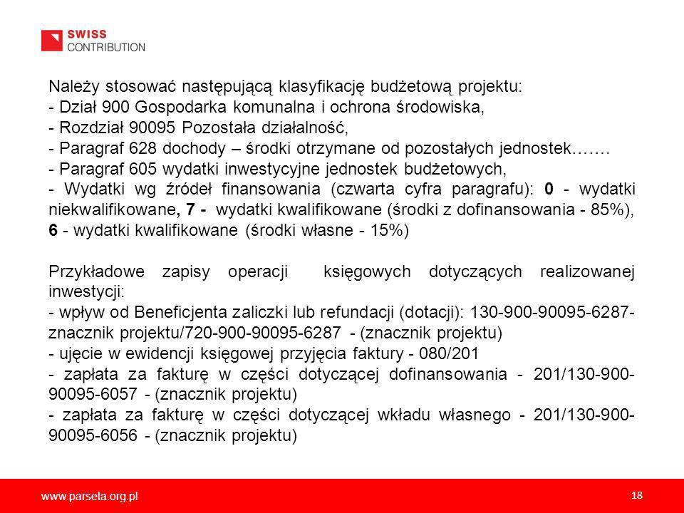 www.parseta.org.pl 18 Należy stosować następującą klasyfikację budżetową projektu: - Dział 900 Gospodarka komunalna i ochrona środowiska, - Rozdział 90095 Pozostała działalność, - Paragraf 628 dochody – środki otrzymane od pozostałych jednostek…….