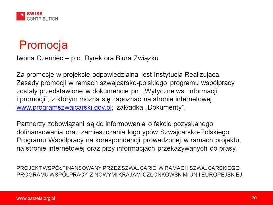 www.parseta.org.pl 20 Promocja Iwona Czerniec – p.o.