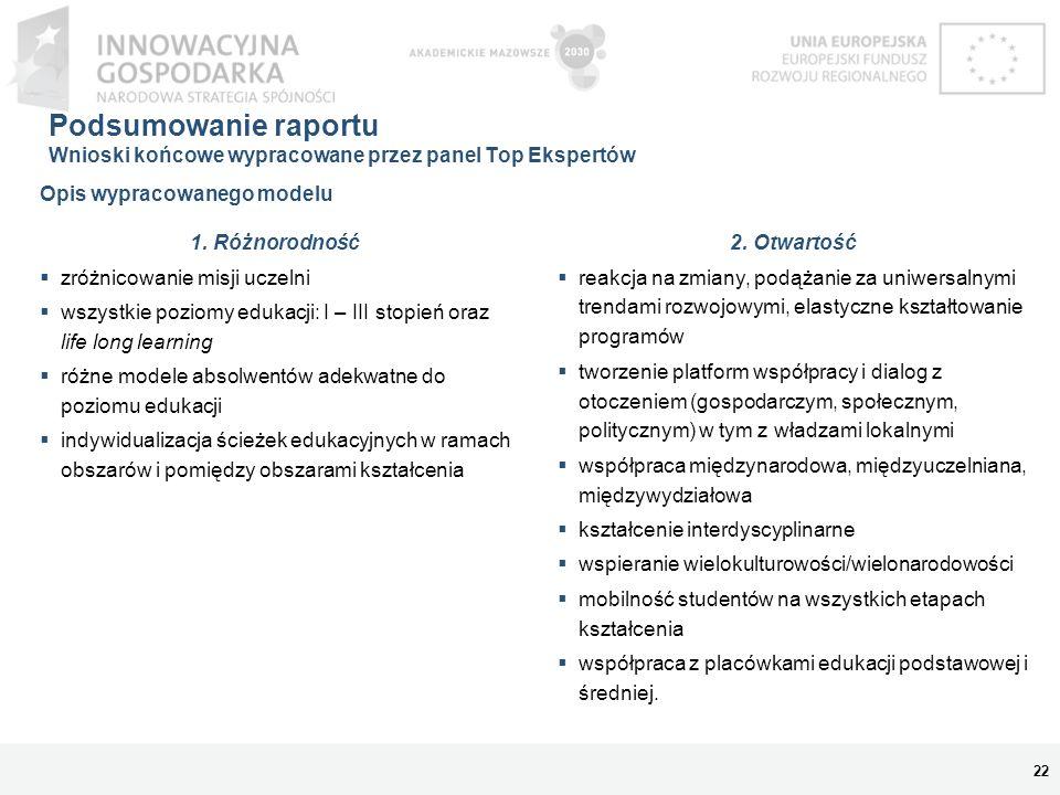 Podsumowanie raportu Wnioski końcowe wypracowane przez panel Top Ekspertów 22 1. Różnorodność zróżnicowanie misji uczelni wszystkie poziomy edukacji: