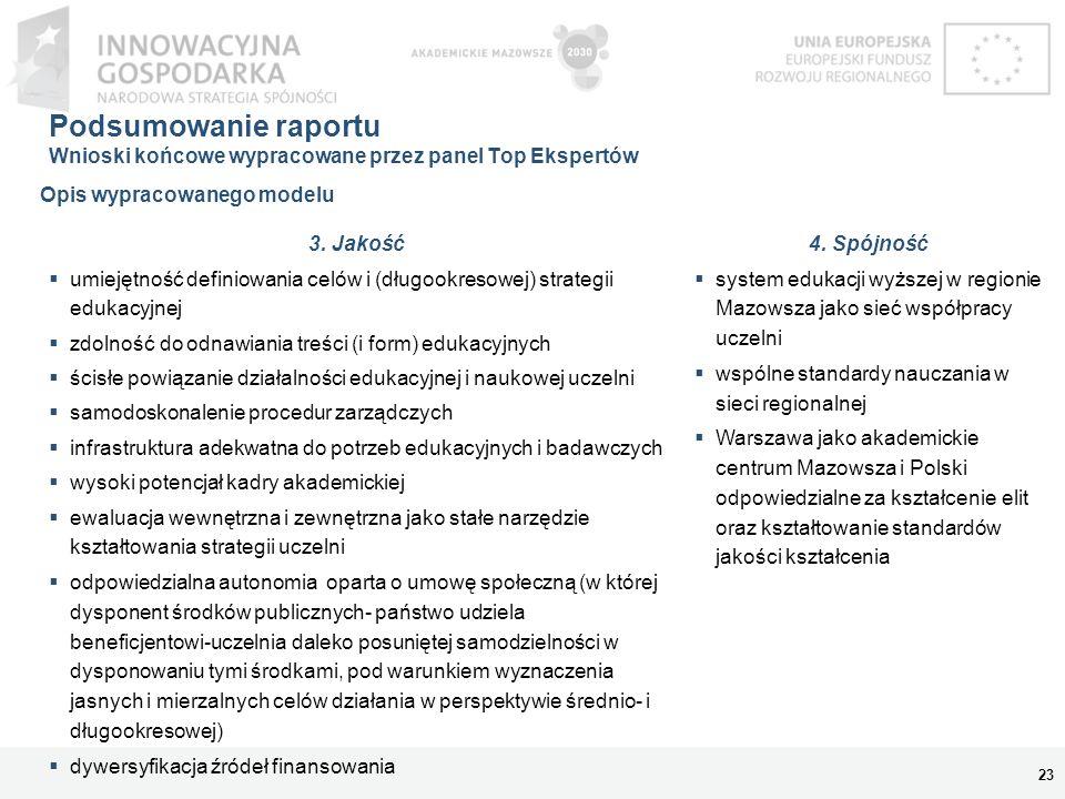 Podsumowanie raportu Wnioski końcowe wypracowane przez panel Top Ekspertów 23 3. Jakość umiejętność definiowania celów i (długookresowej) strategii ed