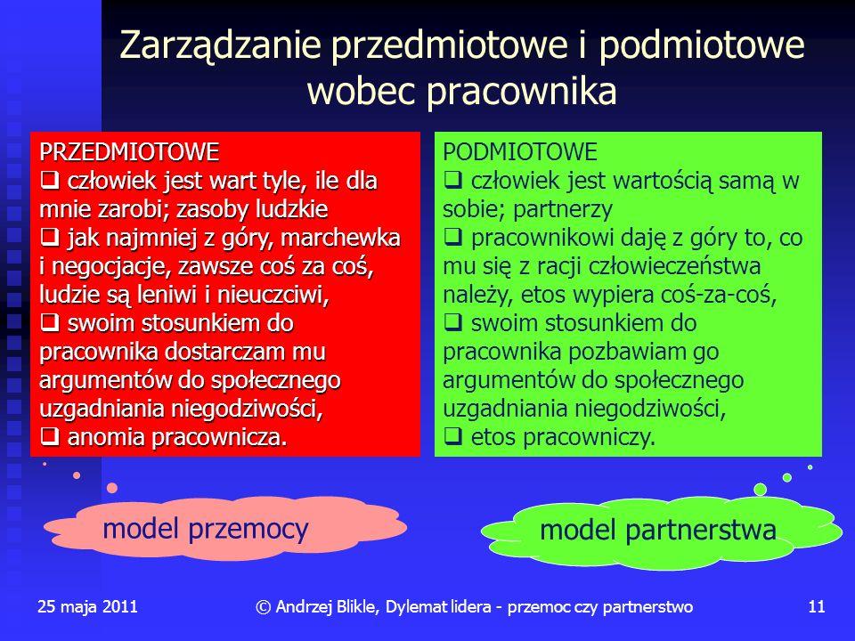 Zarządzanie przedmiotowe i podmiotowe wobec pracownika 25 maja 201111© Andrzej Blikle, Dylemat lidera - przemoc czy partnerstwo PRZEDMIOTOWE człowiek