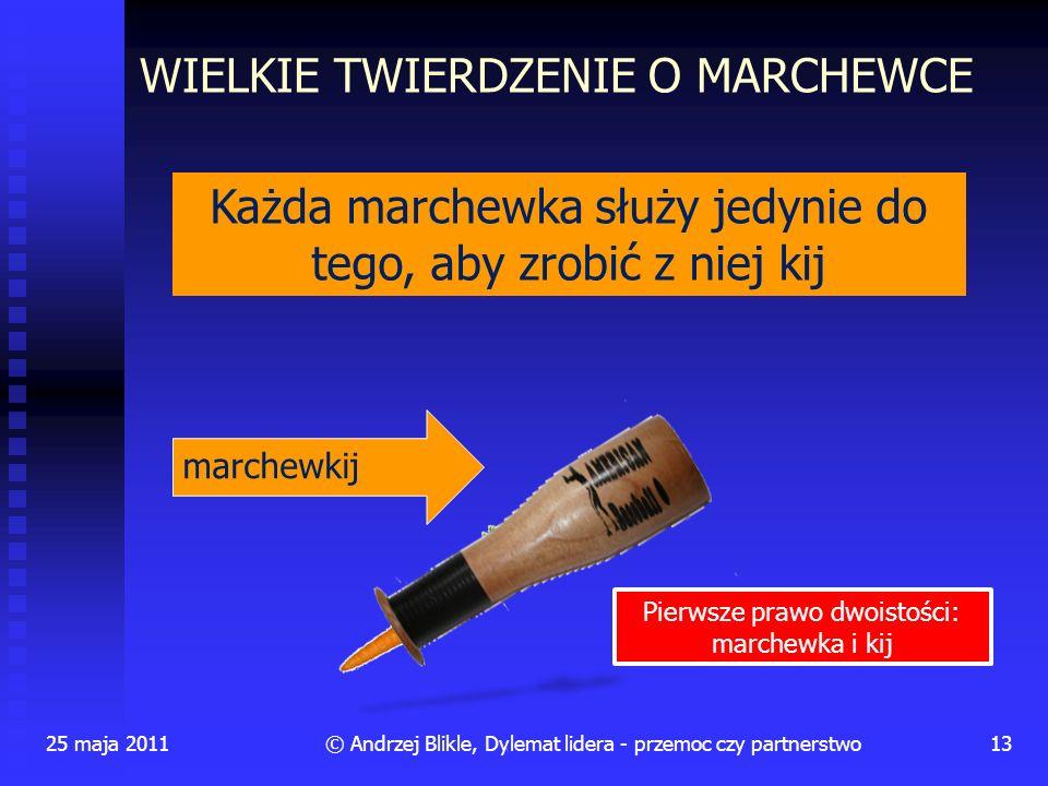 25 maja 201113© Andrzej Blikle, Dylemat lidera - przemoc czy partnerstwo Każda marchewka służy jedynie do tego, aby zrobić z niej kij marchewkij WIELK