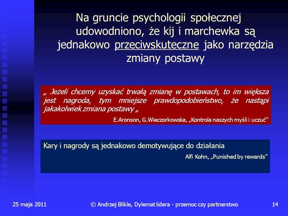 Na gruncie psychologii społecznej udowodniono, że kij i marchewka są jednakowo przeciwskuteczne jako narzędzia zmiany postawy 25 maja 201114© Andrzej