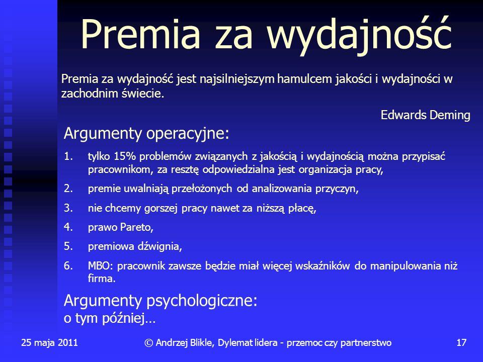 25 maja 201117© Andrzej Blikle, Dylemat lidera - przemoc czy partnerstwo Premia za wydajność Premia za wydajność jest najsilniejszym hamulcem jakości