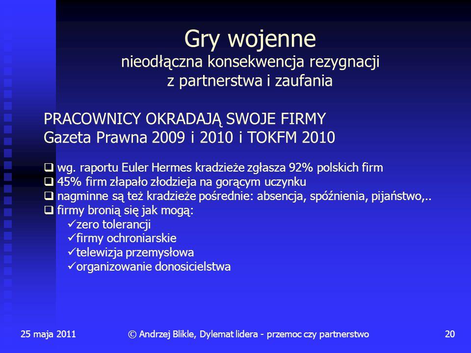 25 maja 201120© Andrzej Blikle, Dylemat lidera - przemoc czy partnerstwo Gry wojenne nieodłączna konsekwencja rezygnacji z partnerstwa i zaufania PRAC