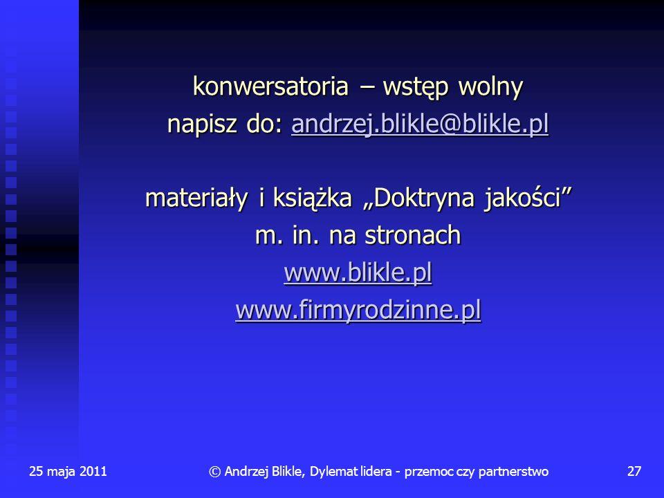 © Andrzej Blikle, Dylemat lidera - przemoc czy partnerstwo konwersatoria – wstęp wolny napisz do: andrzej.blikle@blikle.pl andrzej.blikle@blikle.pl ma
