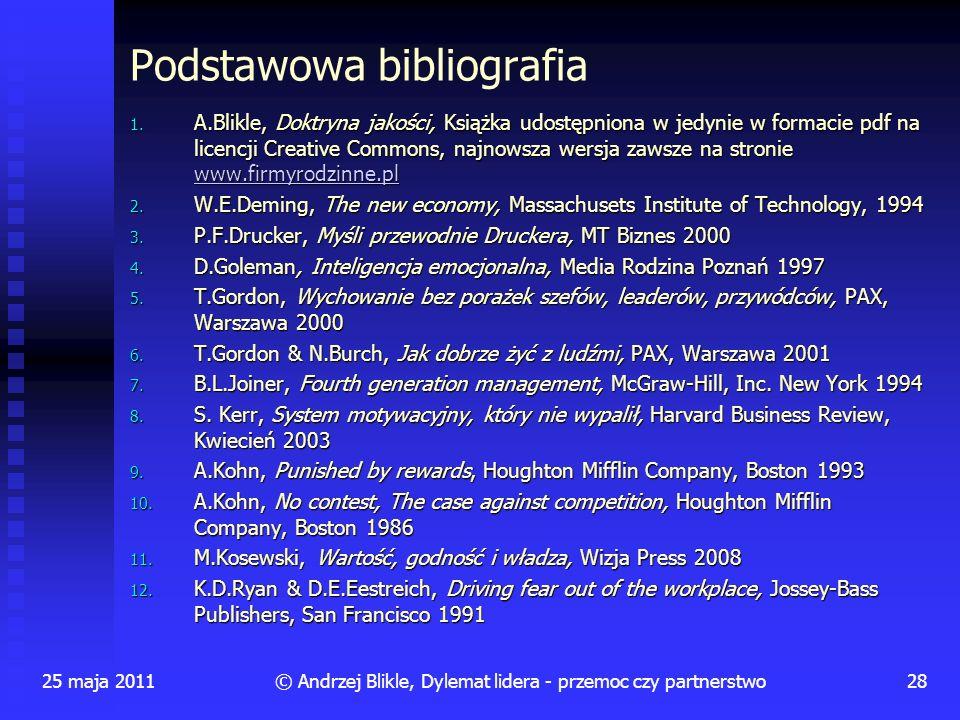 © Andrzej Blikle, Dylemat lidera - przemoc czy partnerstwo Podstawowa bibliografia 1. A.Blikle, Doktryna jakości, Książka udostępniona w jedynie w for