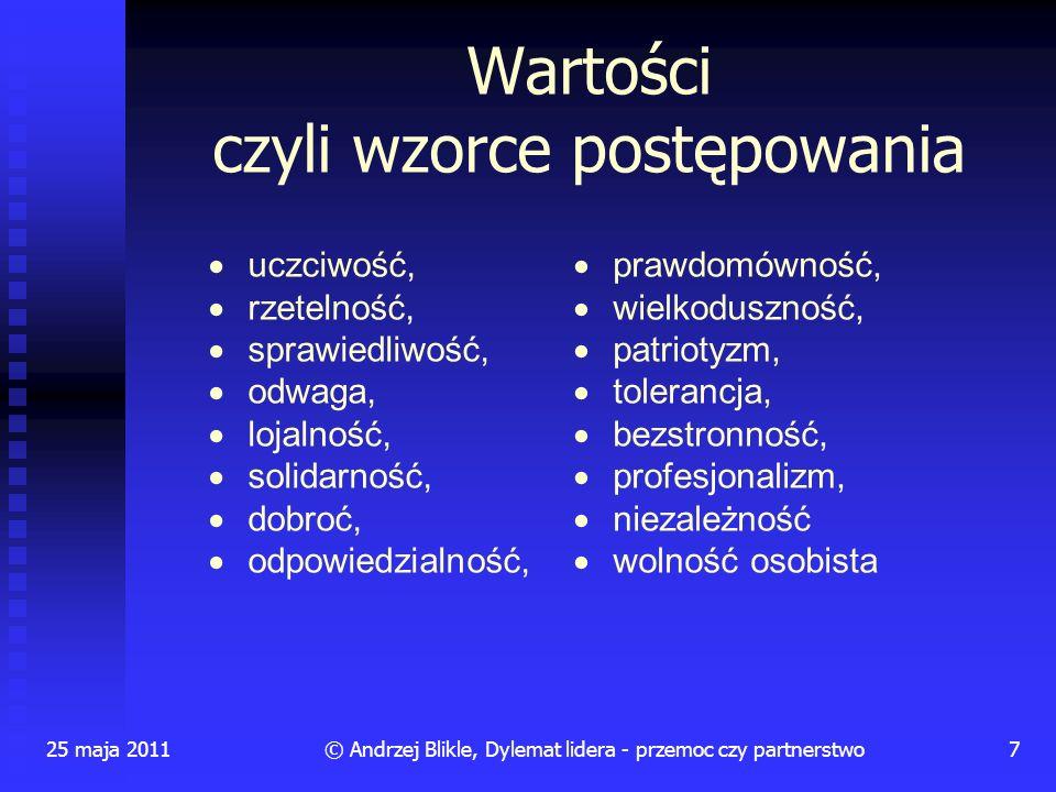 25 maja 20117© Andrzej Blikle, Dylemat lidera - przemoc czy partnerstwo uczciwość, rzetelność, sprawiedliwość, odwaga, lojalność, solidarność, dobroć,