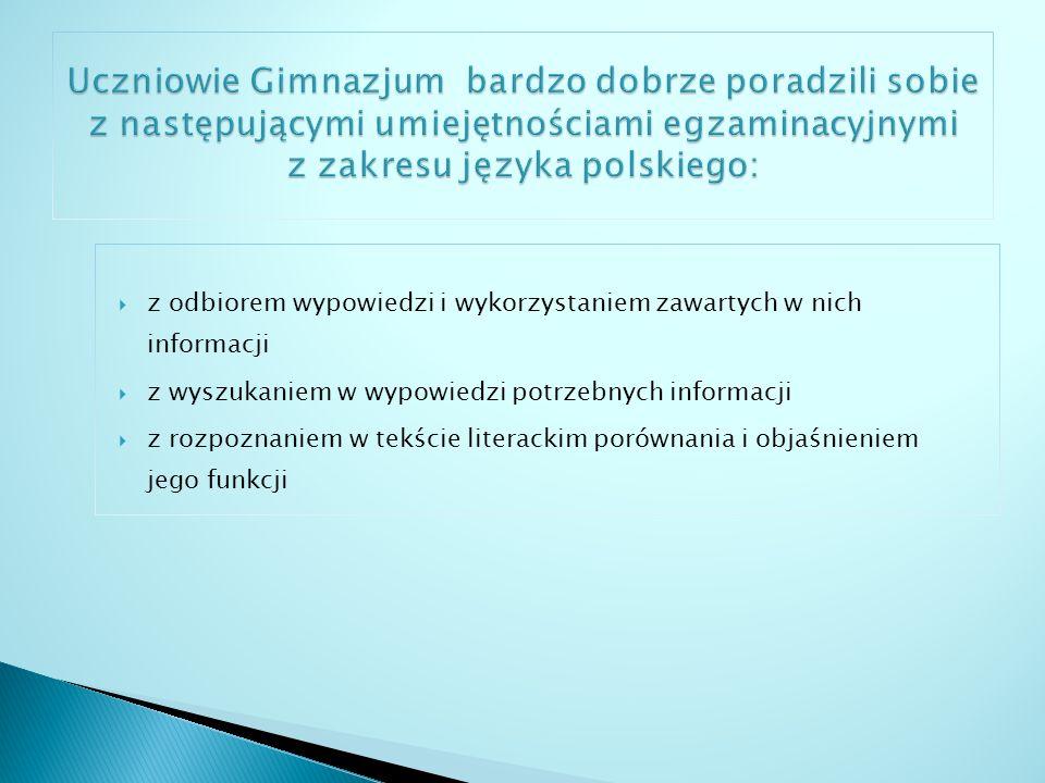 wskazanie funkcji użytych w utworze środków stylistycznych z zakresu składni przedstawienie propozycji odczytania konkretnego tekstu kulturalnego rozpoznanie wyrazów wieloznacznych i wyjaśnienie ich znaczenia wyciągnięcie wniosków wynikających z przesłanek zawartych w tekście zastosowanie spójnej pod względem logicznym i składniowym wypowiedzi na dany temat użycie zasad organizujących tekst zgodnie z wymaganiami charakterystyki poprawne użycie znaków interpunkcyjnych