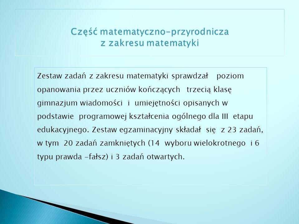 Zadania sprawdzały wiadomości i umiejętności opisane w pięciu obszarach wymagań ogólnych podstawy programowej: I.