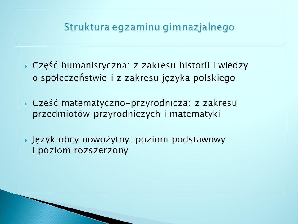 Obszary wymagań: I.Odbiór wypowiedzi i wykorzystanie zawartych w nich informacji II.