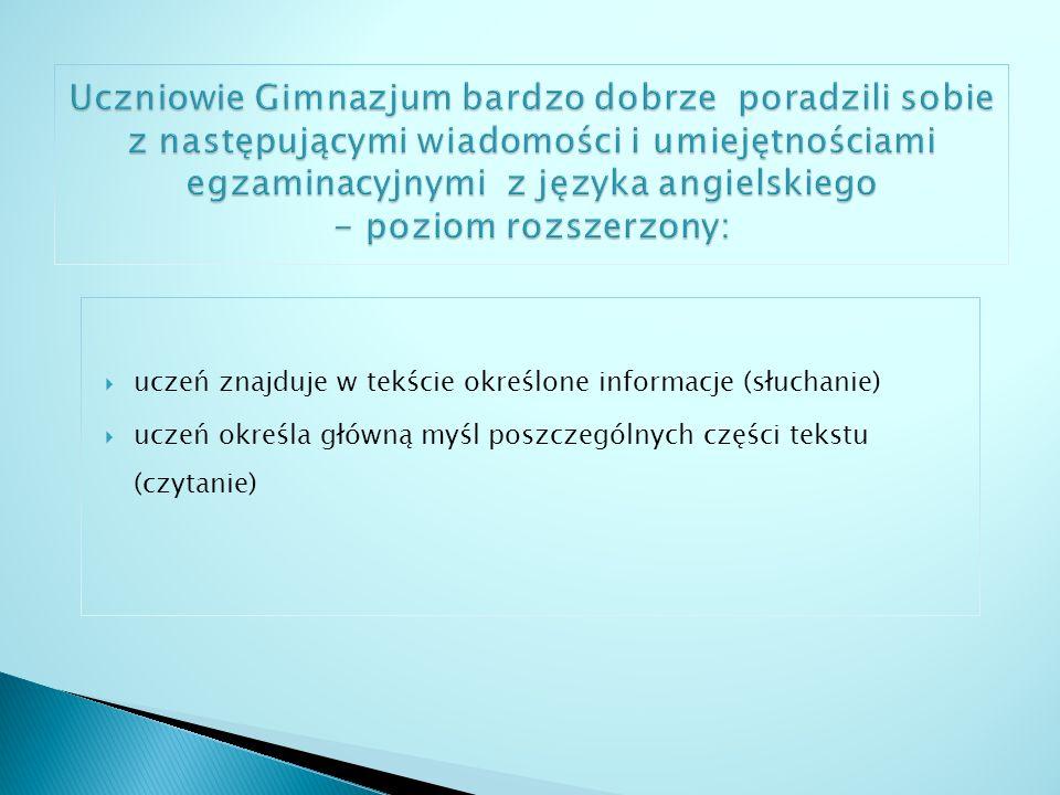 uczeń znajduje w tekście określone informacje (słuchanie i czytanie) uczeń posługuje się podstawowym zasobem środków językowych (leksykalnych, gramatycznych, ortograficznych […])